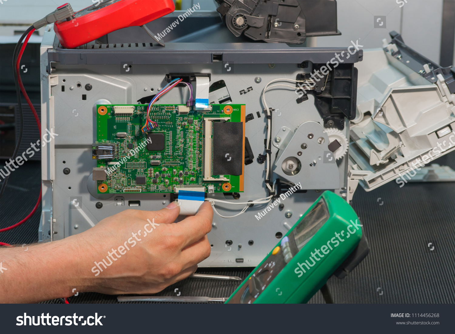 Laser Printer Repair Connection Ribbon Cable Stock Photo Edit Now Electronic Circuit Board Royalty Free Images Image Of The To Main Printed