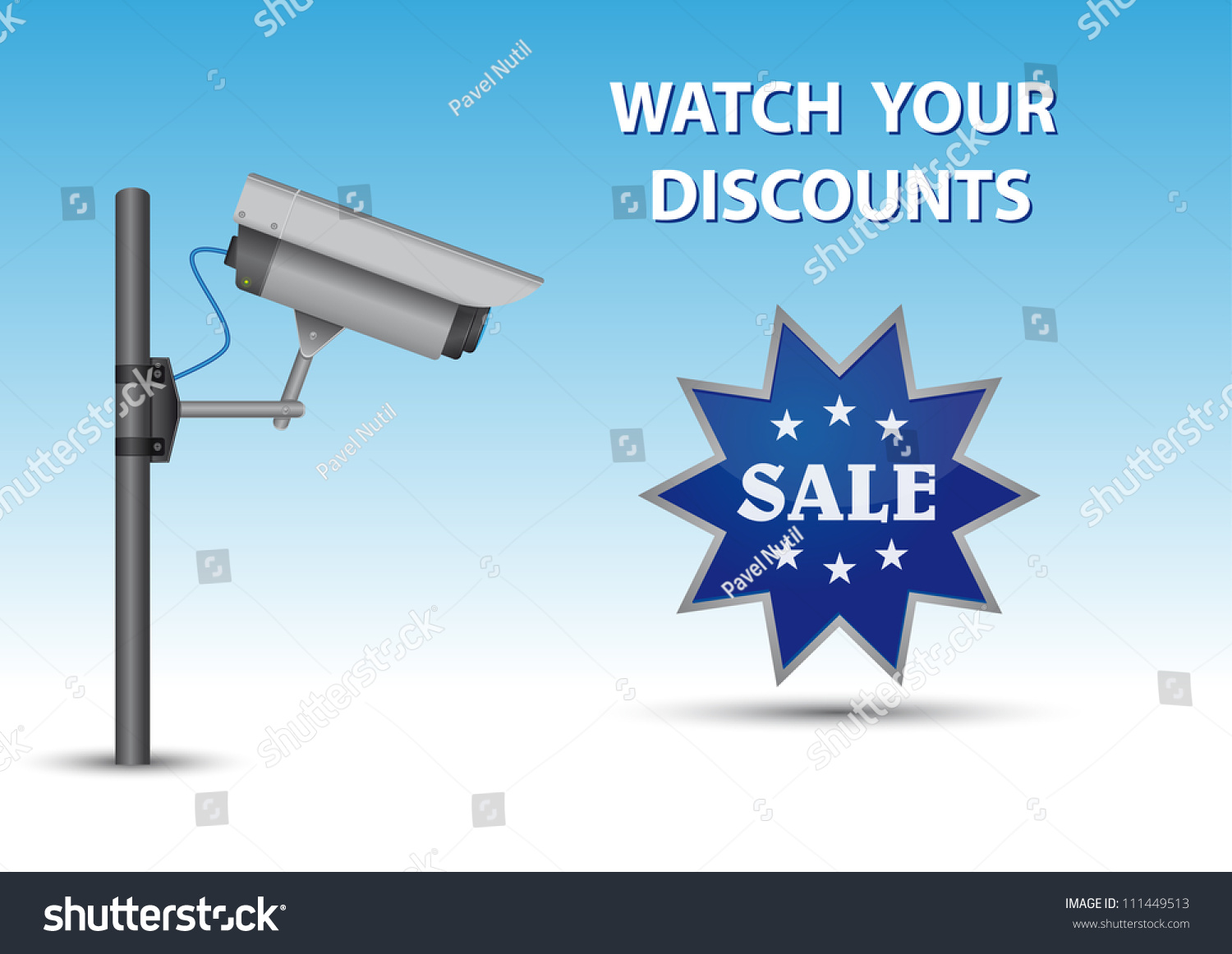 stock vector security cctv camera with open lens and wires on pole blue sticker with text sale and au above 111449513 rj11 security camera wiring diagram efcaviation com weatherproof security camera 47546 wiring diagram at readyjetset.co