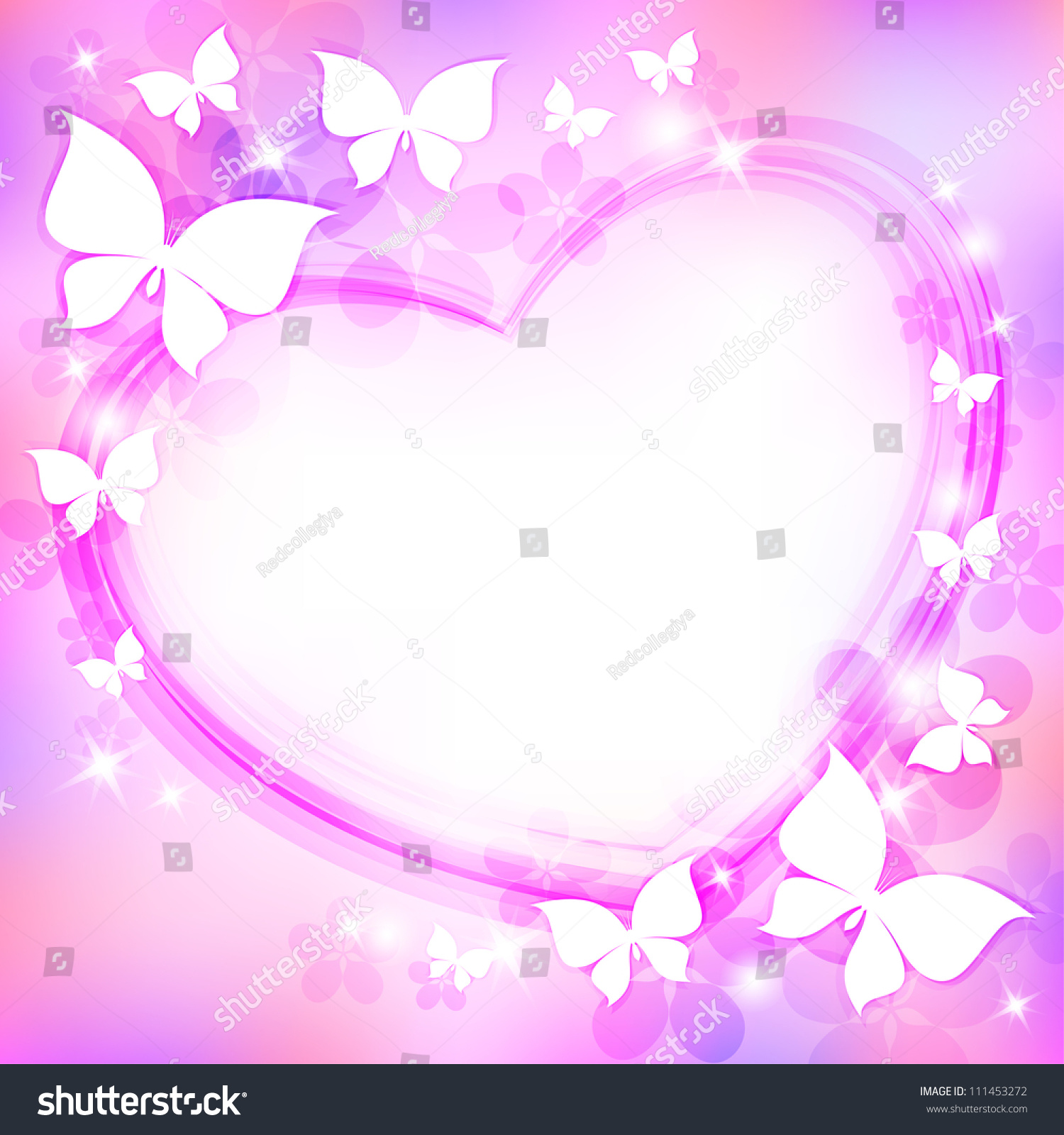 Beautiful Abstract Background Heart Butterflies Stars