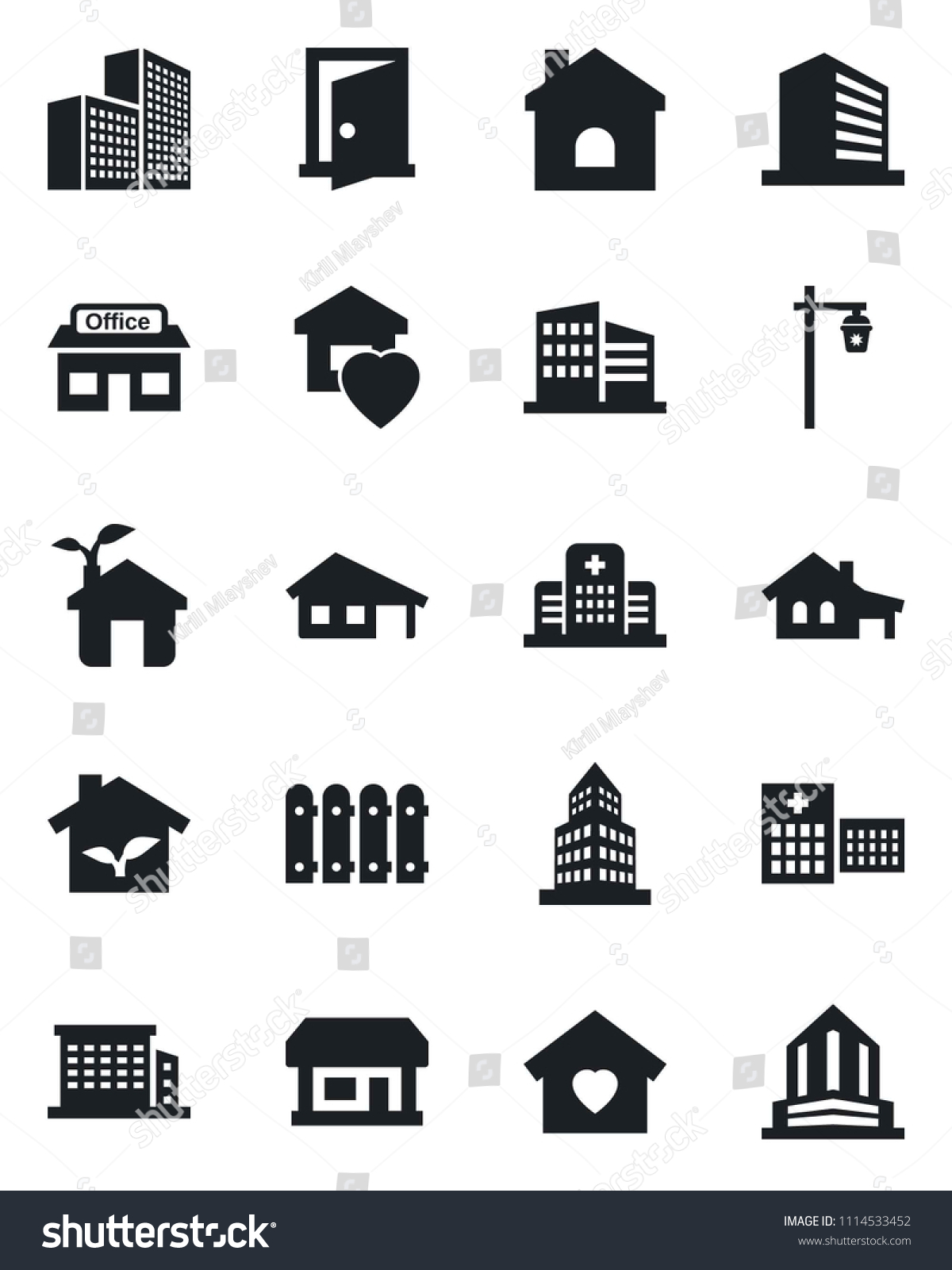 Set Vector Isolated Black Icon Office Stock Vector (2018) 1114533452 ...
