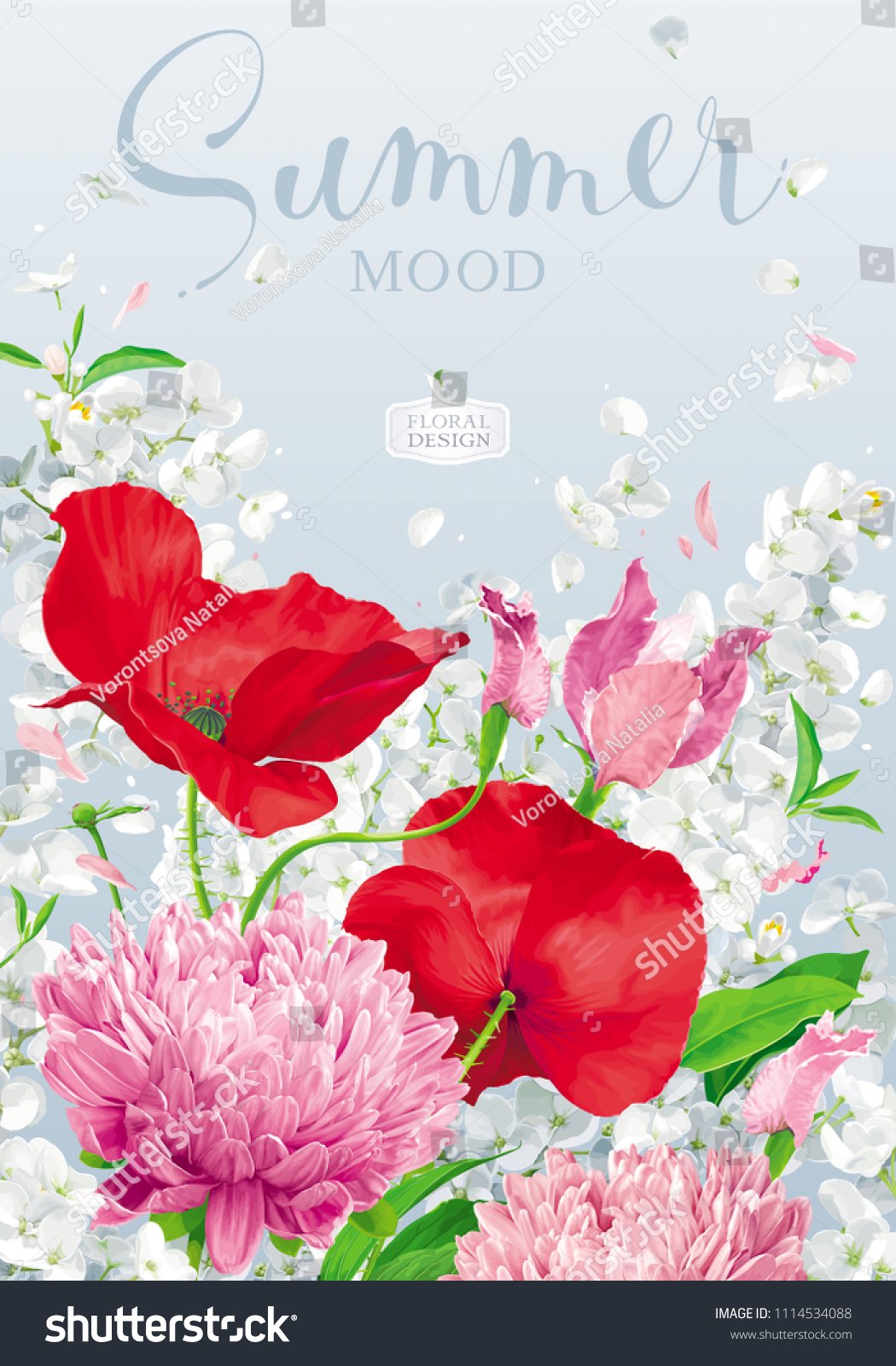 Vintage Floral Vector Background Chrysanthemums Poppies Stock Vector ...