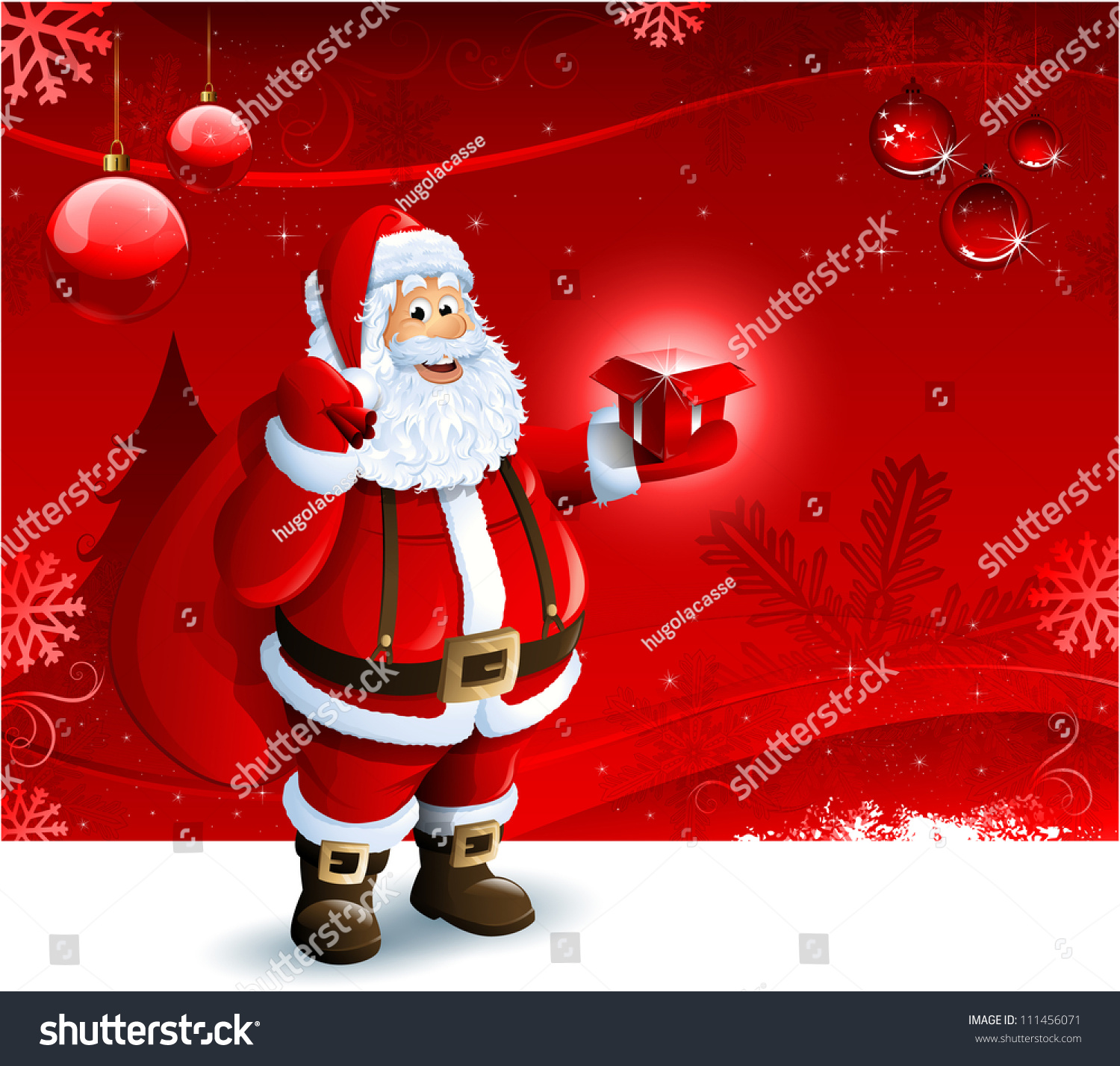santa claus holding gift box on stock vector 111456071