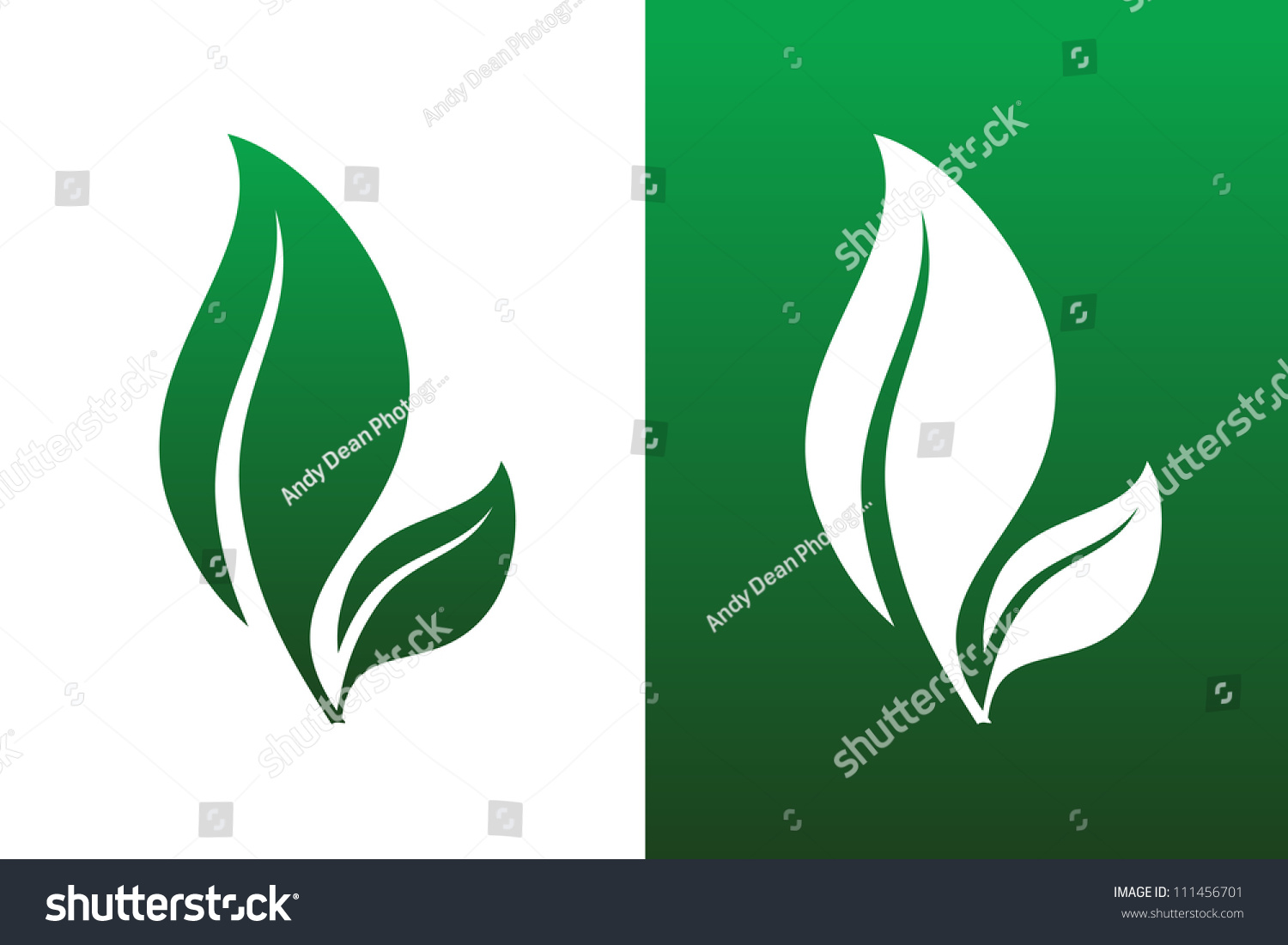 Leaf Pair Icon Vector Illustrations on Both Solid and Reversed ...