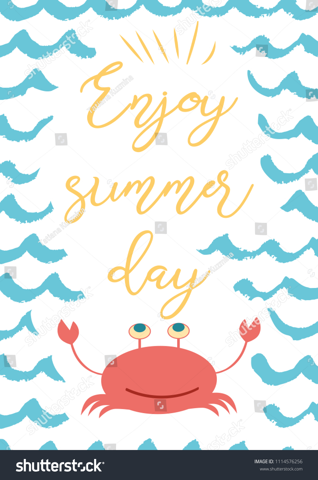 Attractive Funny Summer Quote Enjoy Summer Day On Blue Wave Backround, Cute Crab  Vector Inspirational Vacation