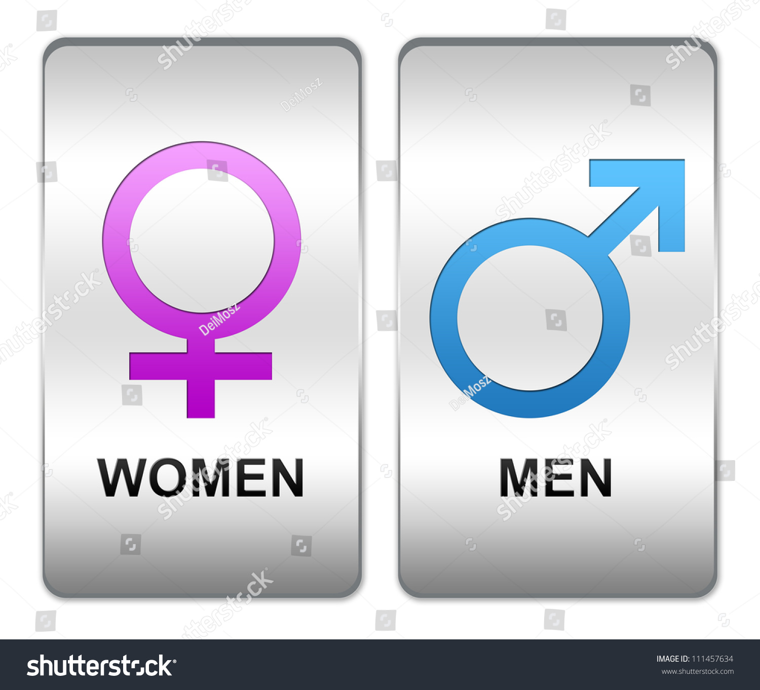 men and women restroom or toilet sign with blue men and pink women sign on square