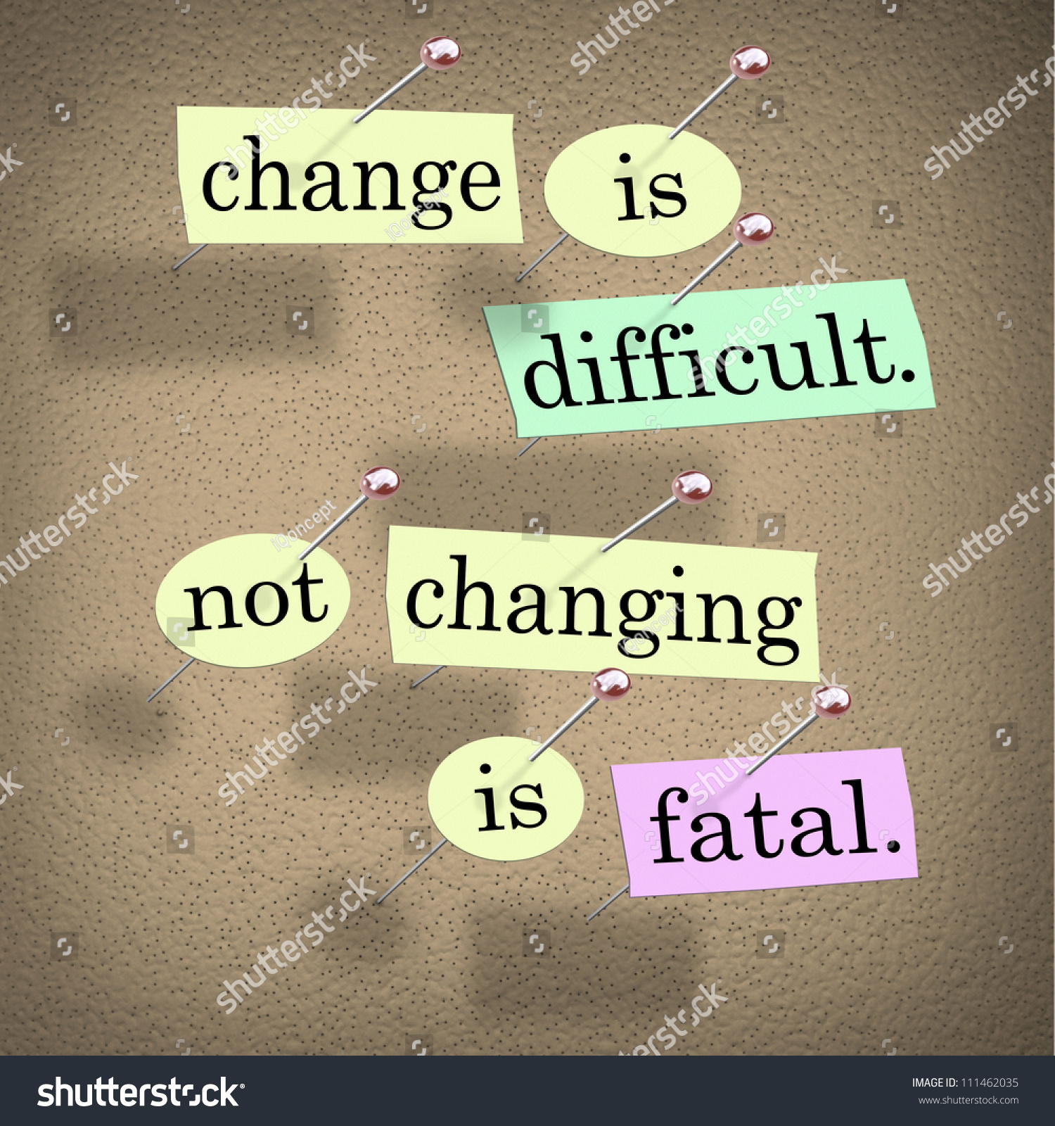 saying motto change difficult not changing stock illustration