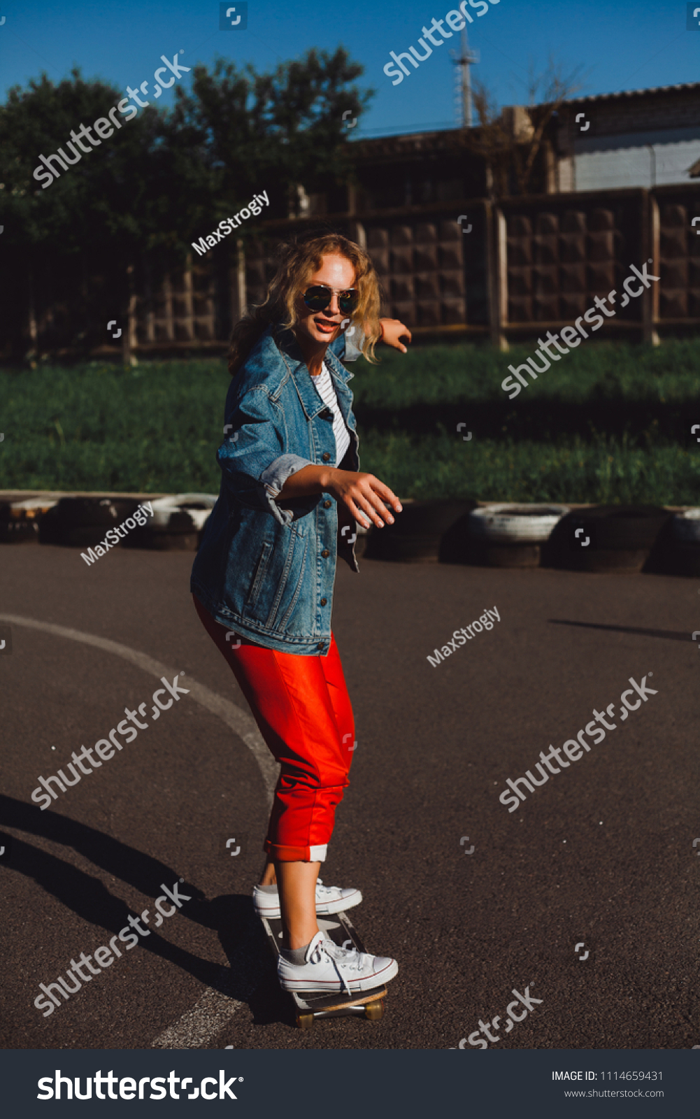Blonde Sneakers Red Pants Jeans Jacket Stock Photo (Edit Now