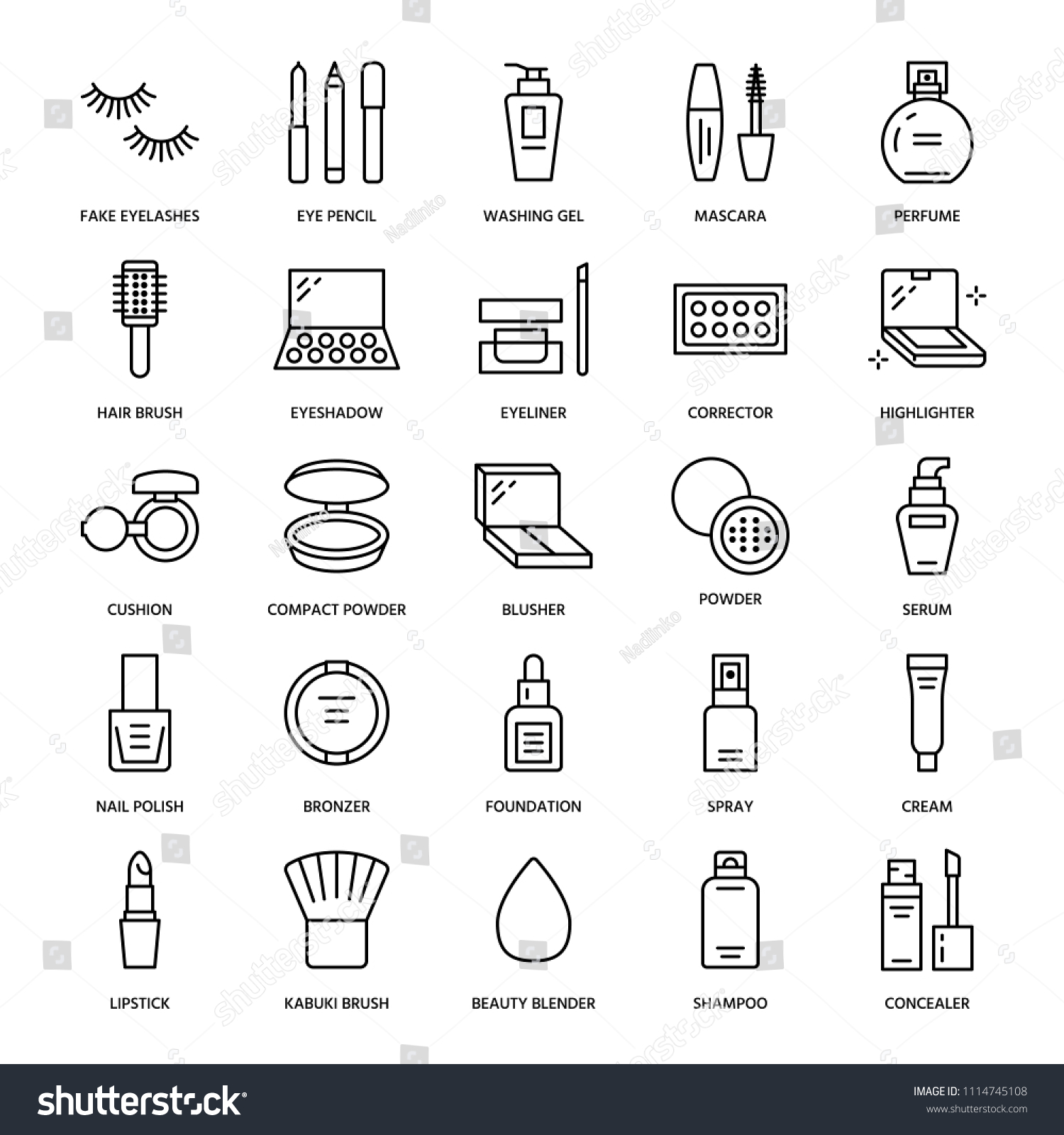Makeup Beauty Care Flat Line Icons Stock Vector (Royalty