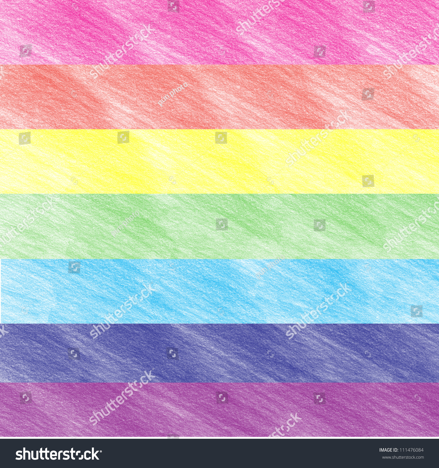 Childs Rainbow Crayon Drawing Handdrawn Colored Stock Photo Edit Now 111476084