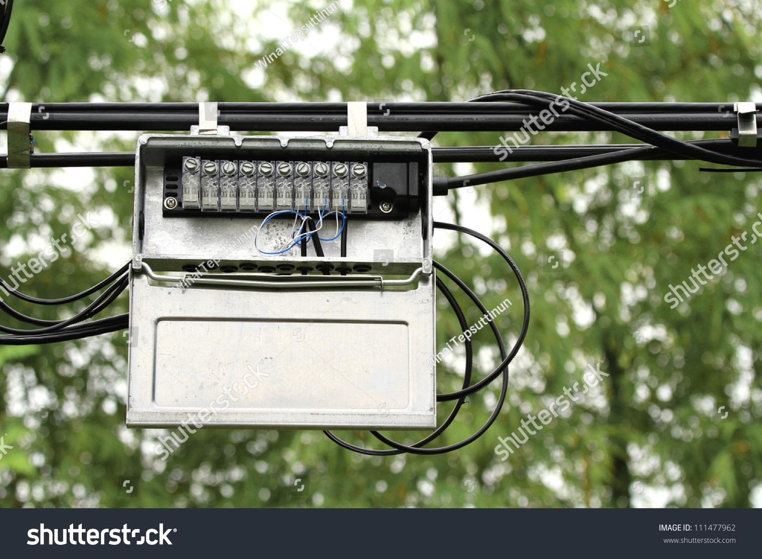 outdoor junction box of telephone cable stock photo 111477962 shutterstock