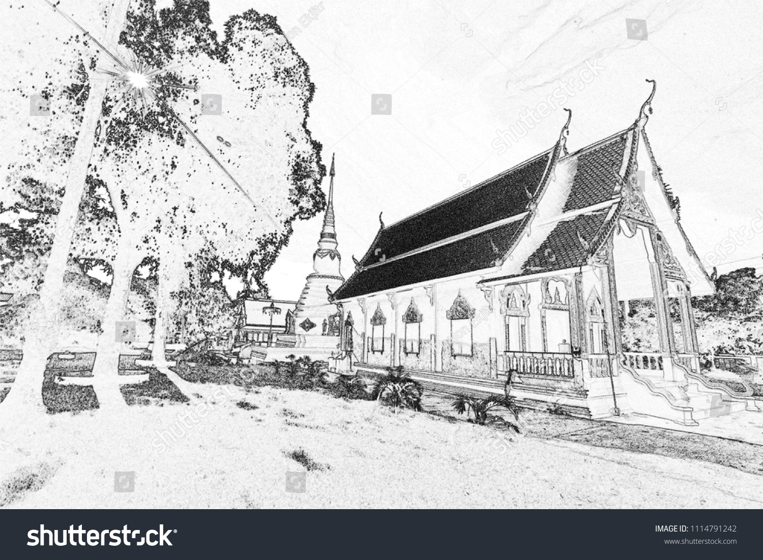 Thai church in drawing style