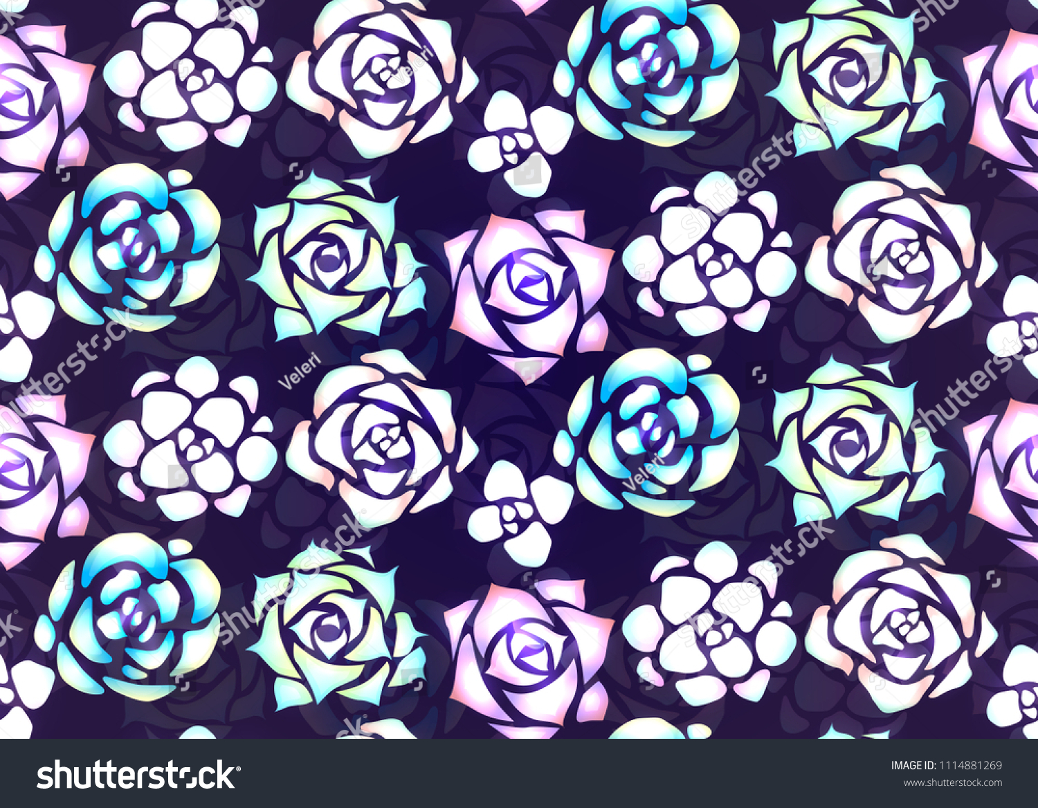 Seamless Pattern Neon Succulents Patches Light Stock Vector Royalty Free 1114881269