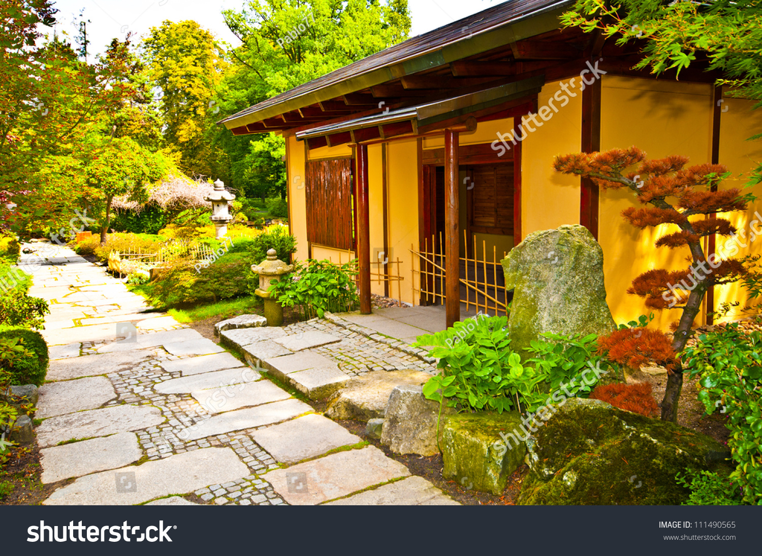Japanese house in garden stock photo 111490565 shutterstock for Japanese house garden