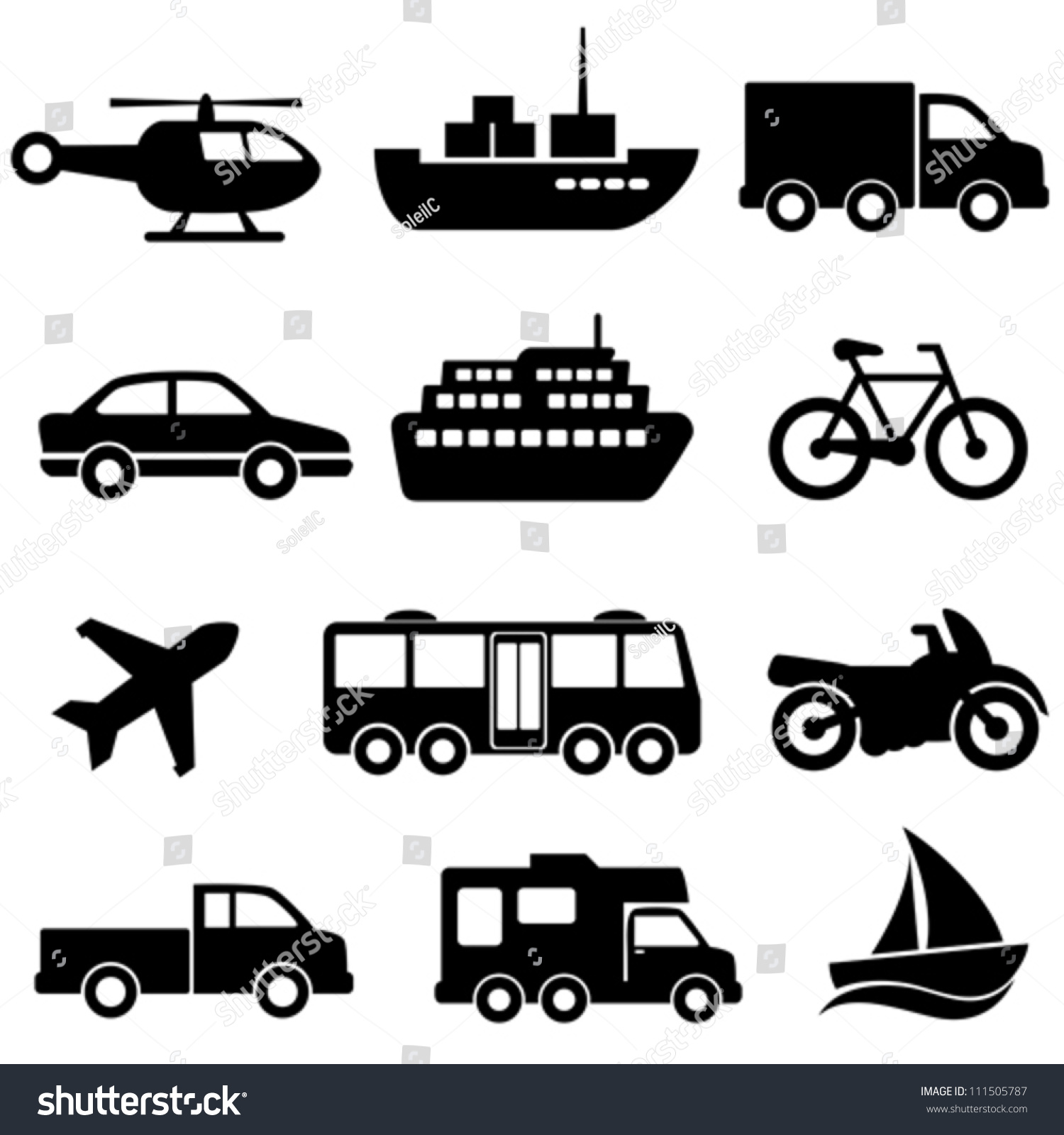 transportation icon set on white background stock vector 111505787