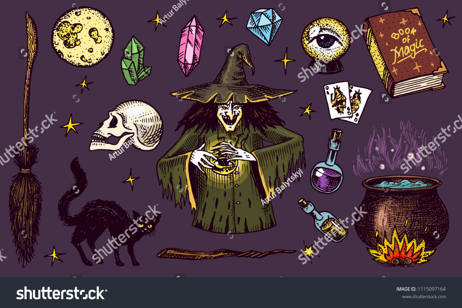 Halloween elements. Magic ball, witch with book of spells, cursed black cat,
