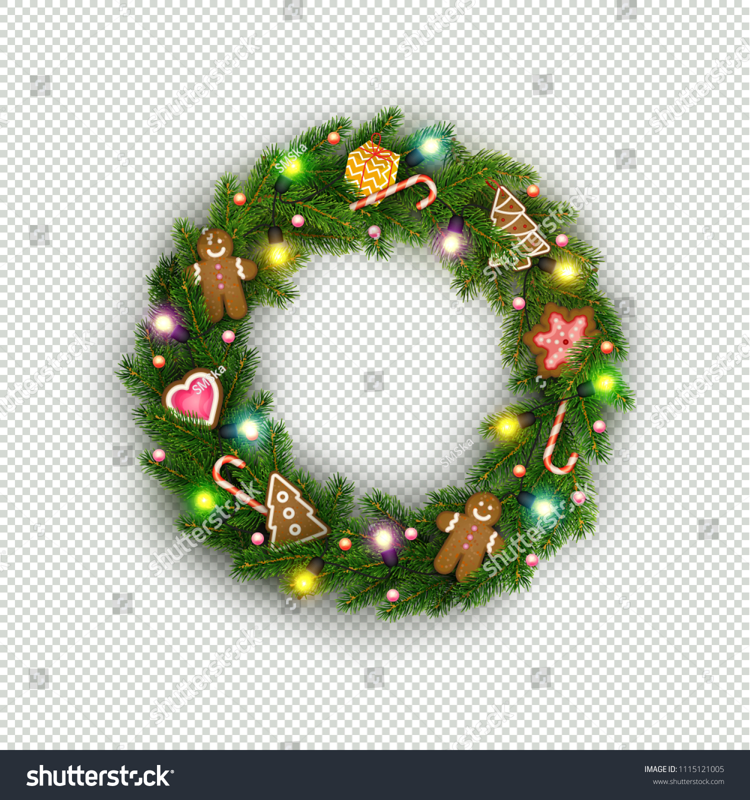 Christmas Wreath Realistic Christmas Tree Branches Stock Vector 1115121005