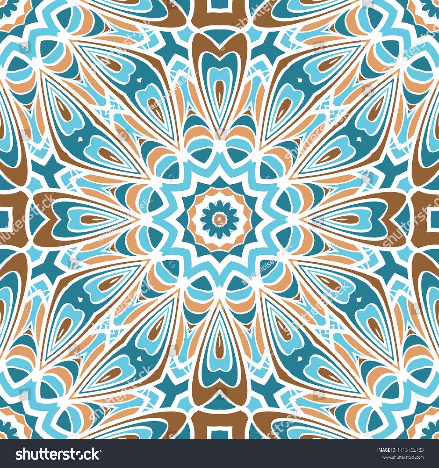 Artdeco Floral Pattern Seamless Vector Illustration Stock Vector