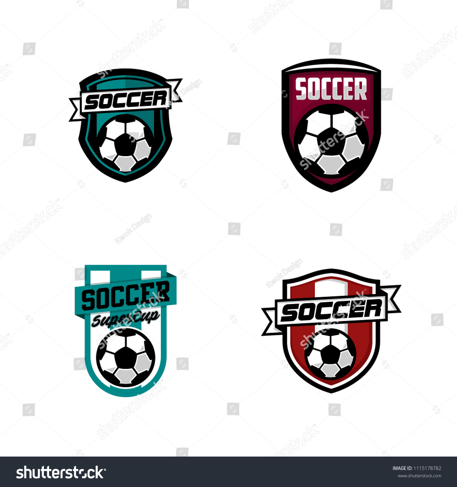 Set Of Soccer Or Football Club Emblem Logo Badge Design Sport Team Vector Illustration Template