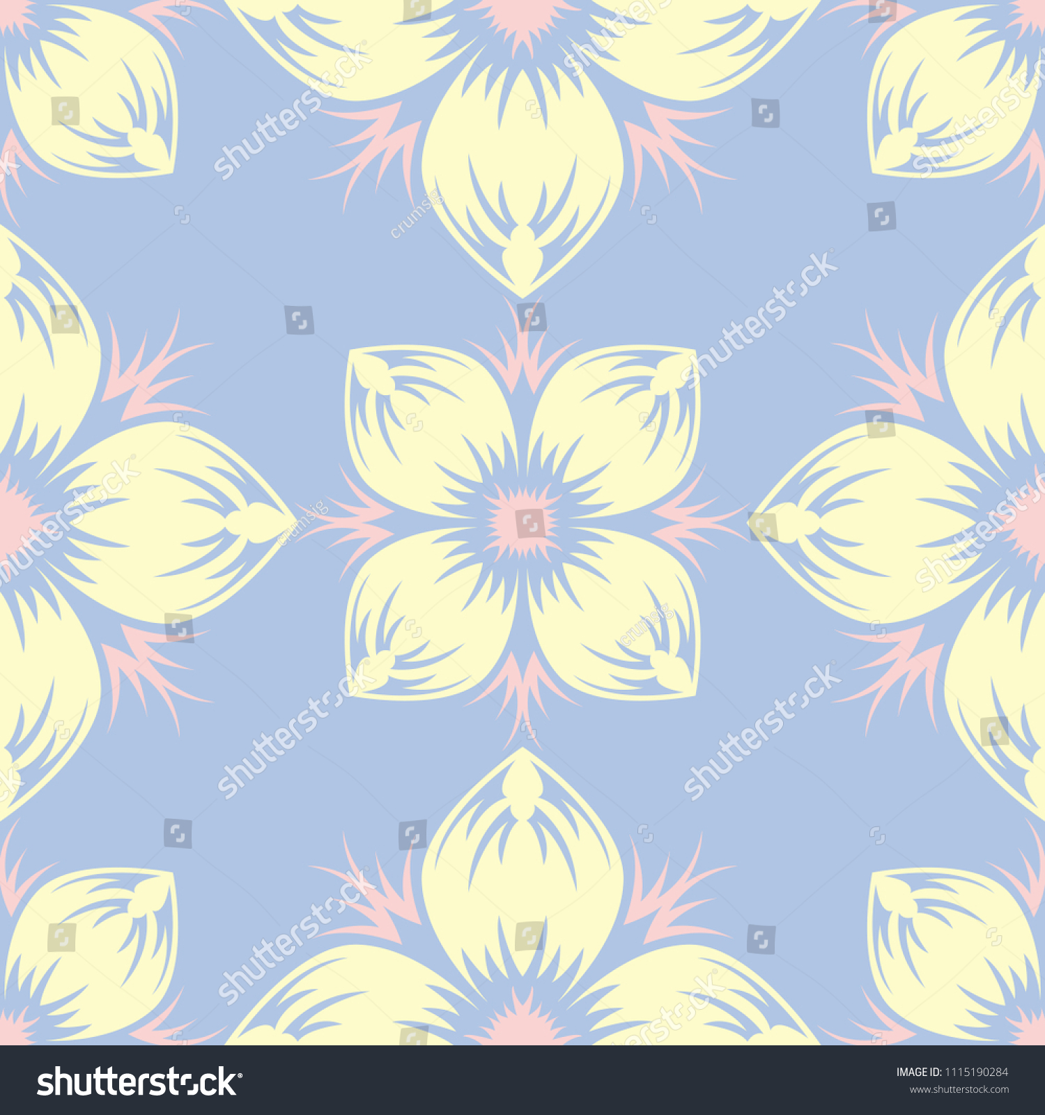 Pale Blue Seamless Background Floral Pattern Stock Vector Royalty