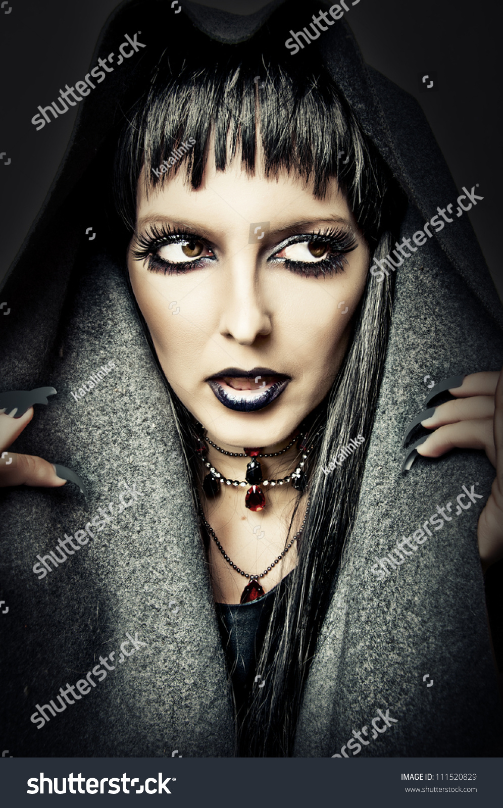 Halloween Style Costume Make Sexy Evil Stock Photo 111520829 ...