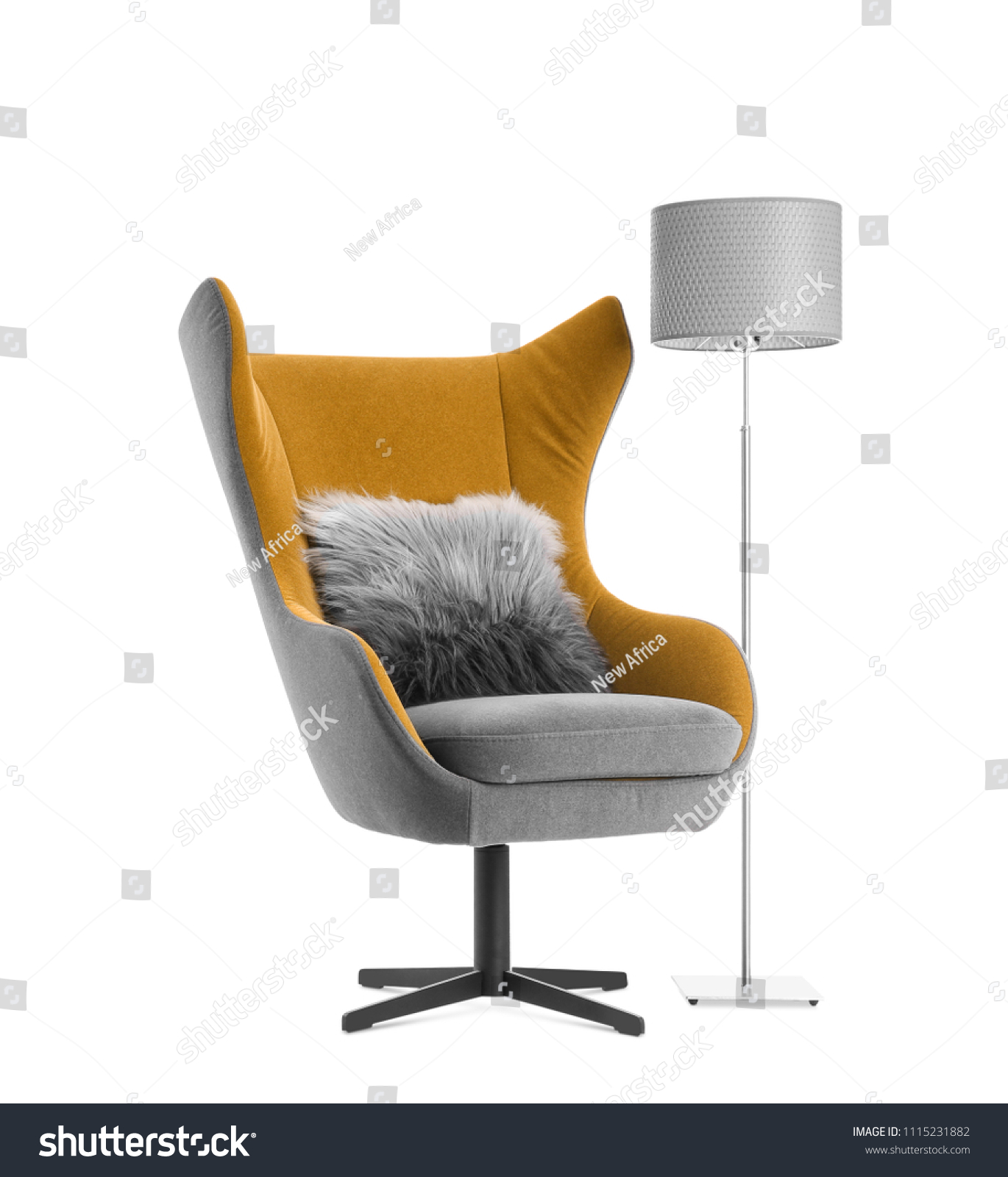 Comfortable armchair with pillow and lamp on white background. Interior element #1115231882