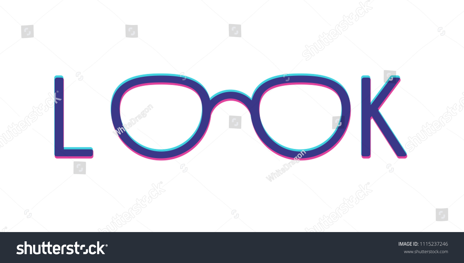 Modern Glasses Frame Word Look 3 D Stock Vector (Royalty Free ...
