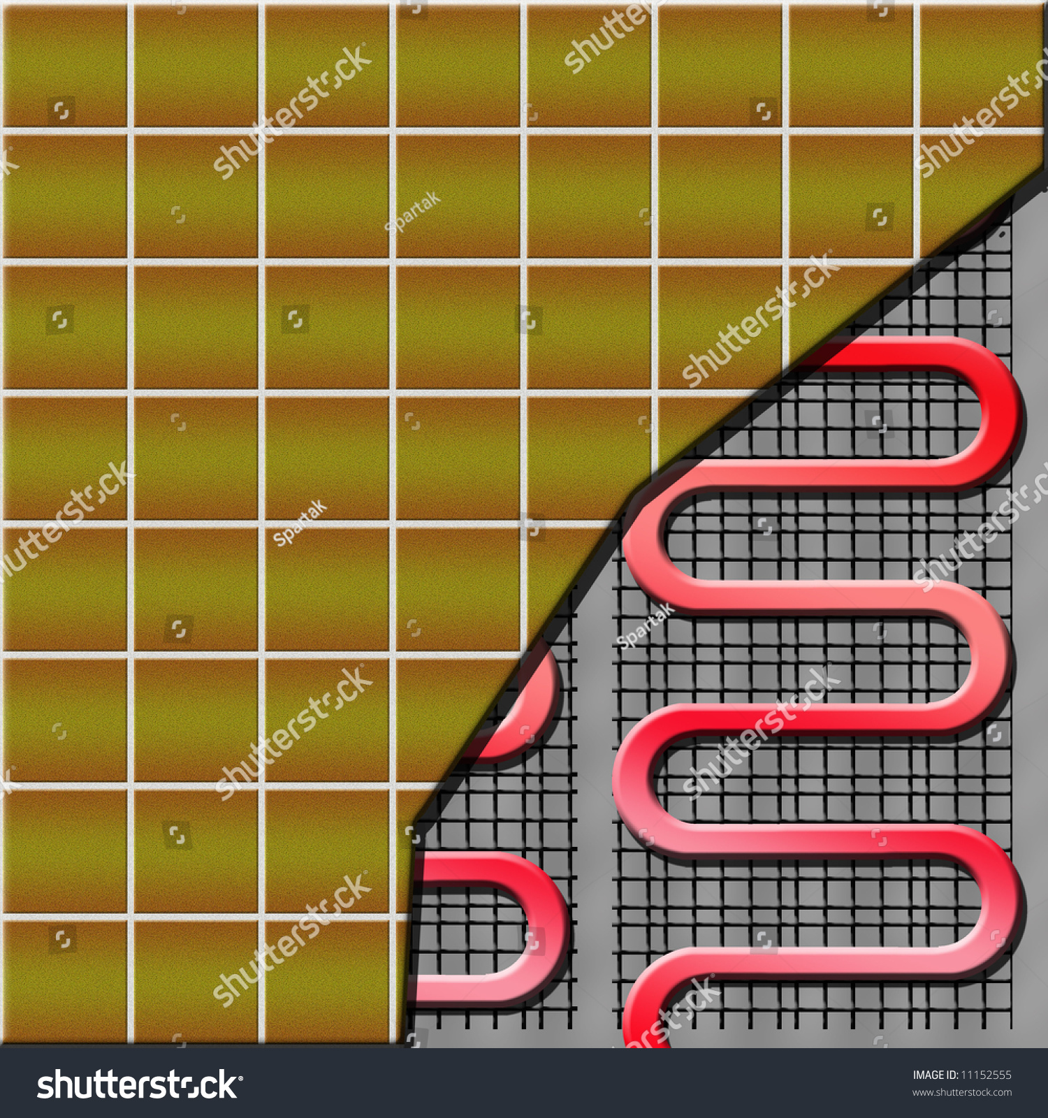Floor Heating System Partly Under Ceramic Stock Illustration