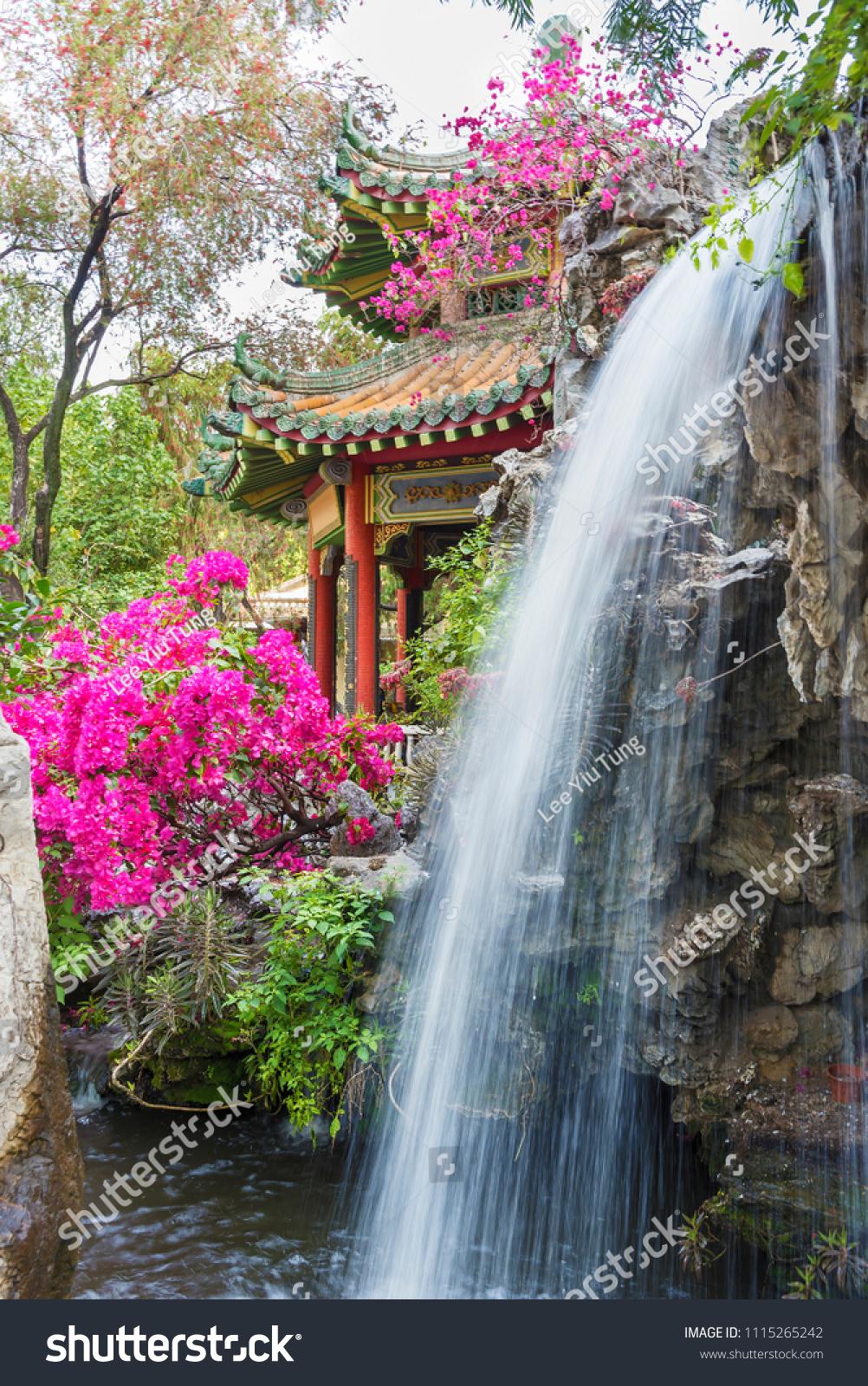 pavilion waterfall oriental garden hong kong stock photo