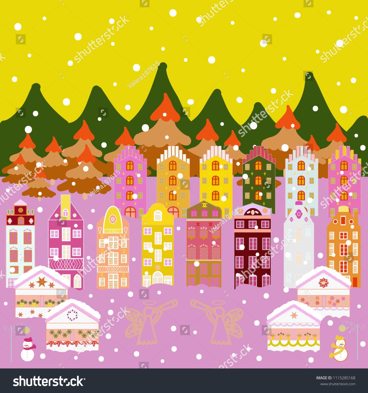 Paper Art Happy New Year House Stock Vector 1115285168 - Shutterstock