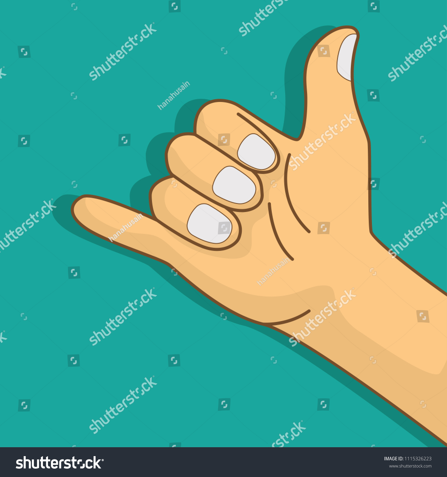 Human Hand Making Hang Loose Call Stock Vector Royalty Free