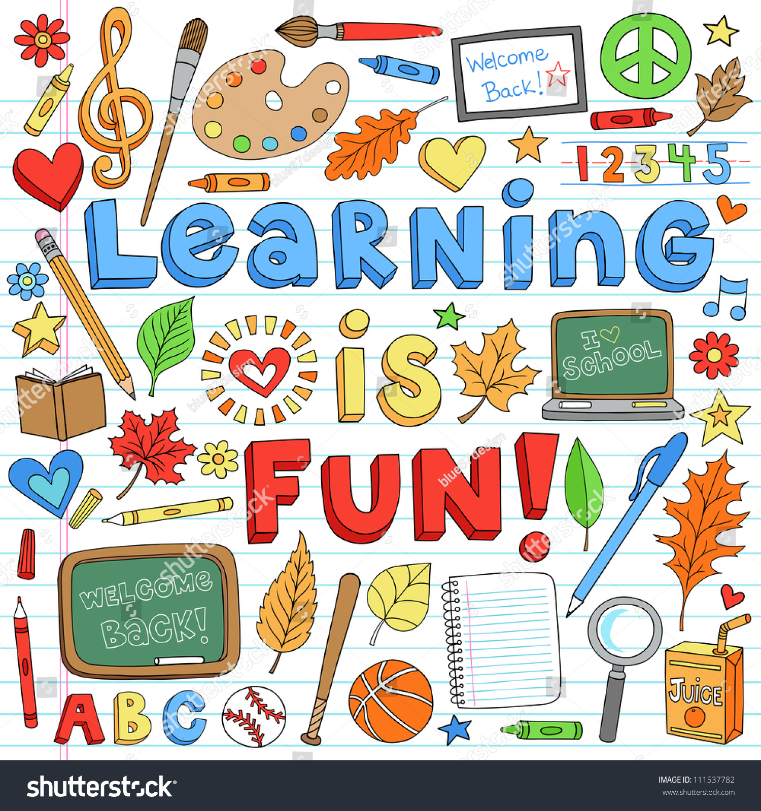 Learning Fun Back School Classroom Supplies Stock Vector