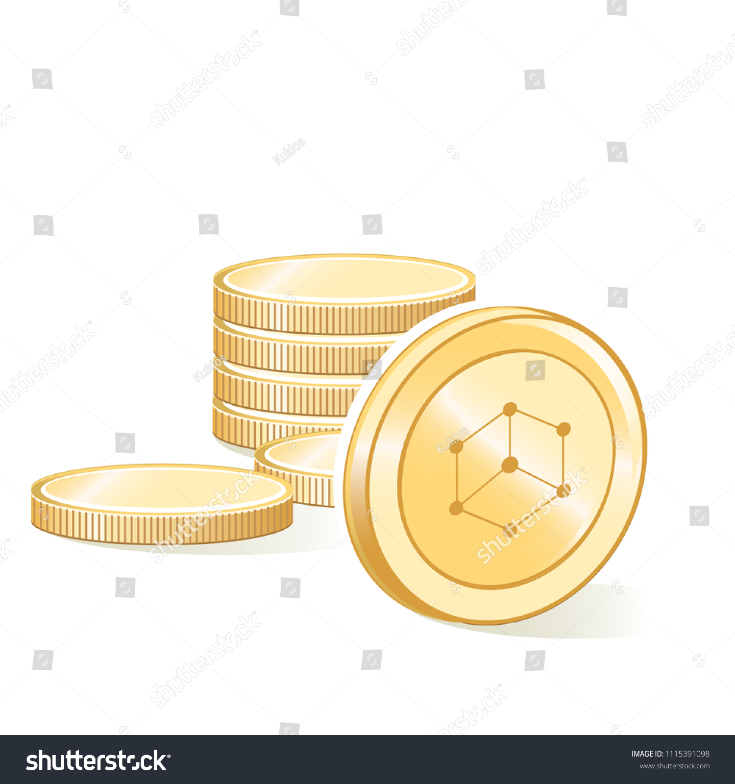 Bibox Cryptocurrency Coin Gold Stacks Isolated Stock Vector (Royalty