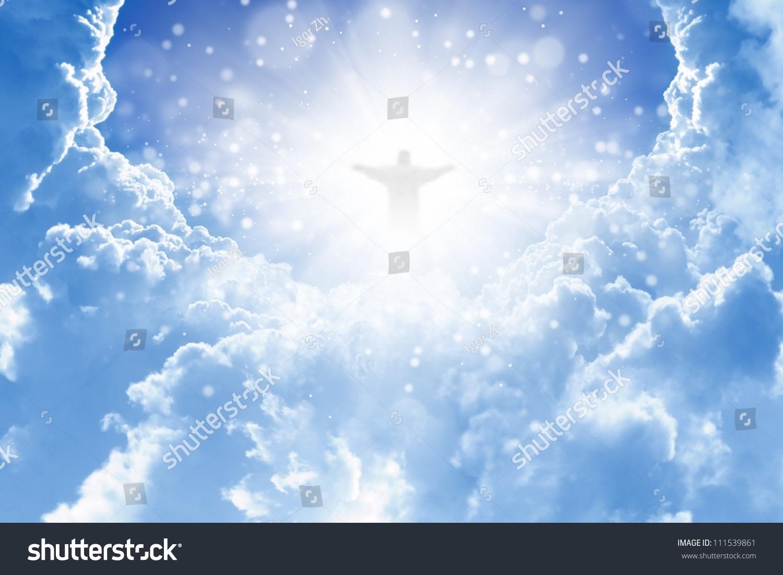 Jesus christ blue sky clouds heaven 111539861 jesus christ blue sky clouds heaven 111539861 shutterstock voltagebd Images
