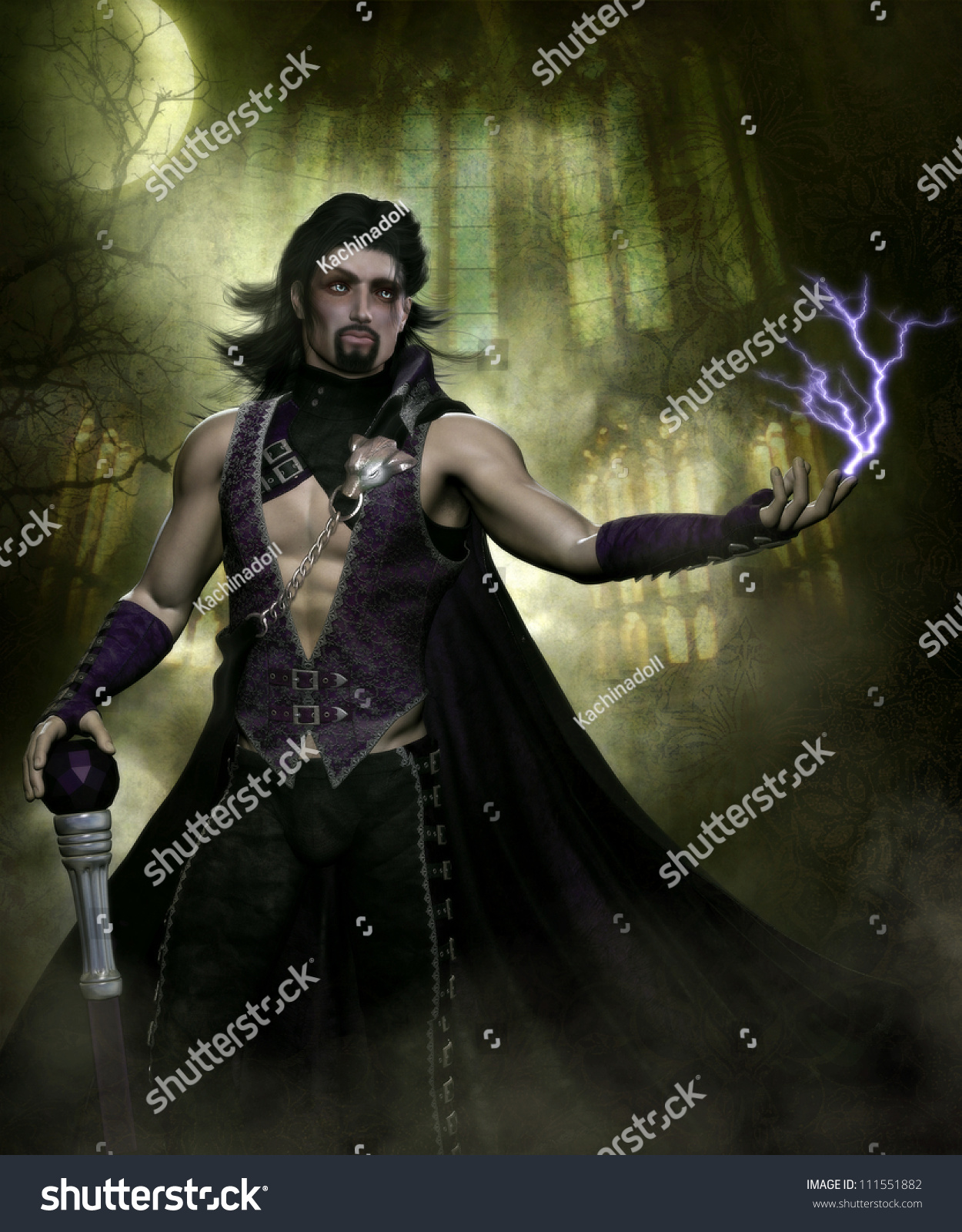 3D Sexy Game 3d illustration sexy male vampire wearing stock illustration