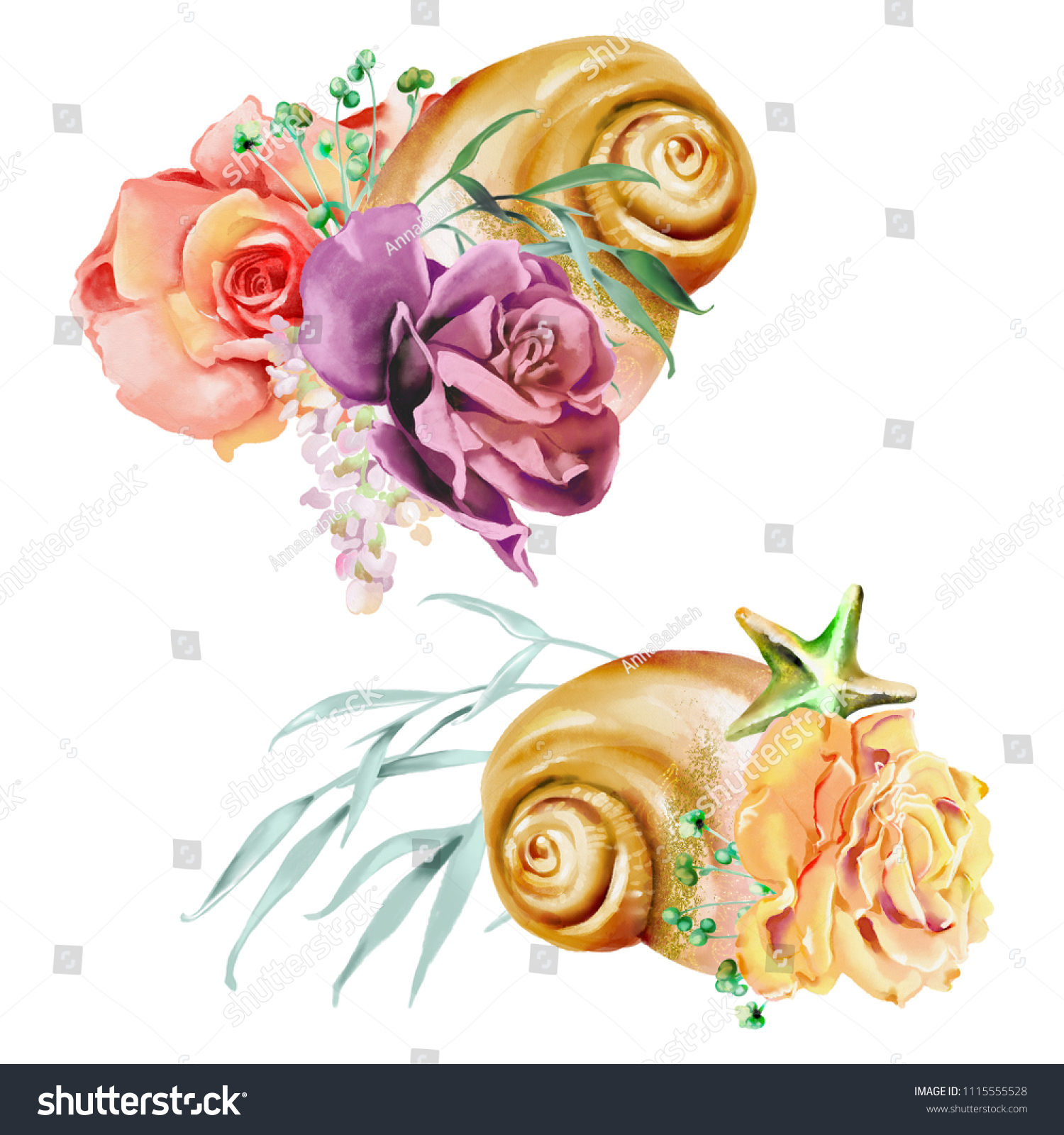 Beautiful Watercolor Flowers Floral Wreaths Bouquets Stock