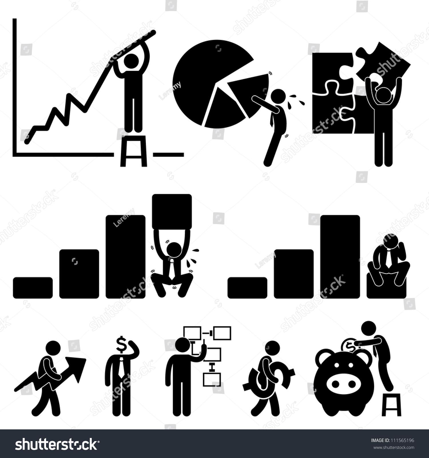 Finance Sign: Business Finance Chart Employee Worker Businessman Stock
