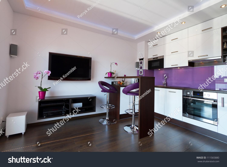 modern living room with purple kitchen interior stock photo
