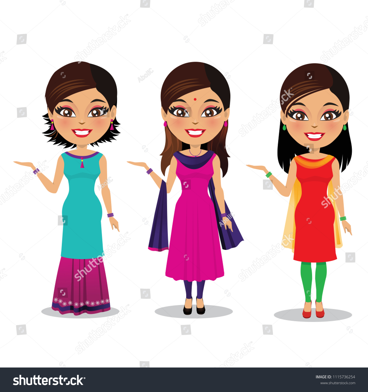 Three Indian Women Different Styles Salwar Stock Vector Royalty