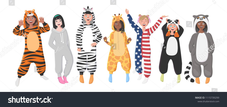 4690b560a4 Kids Plush One Piece Pajamas Hooded Onesie Stock Vector (Royalty ...