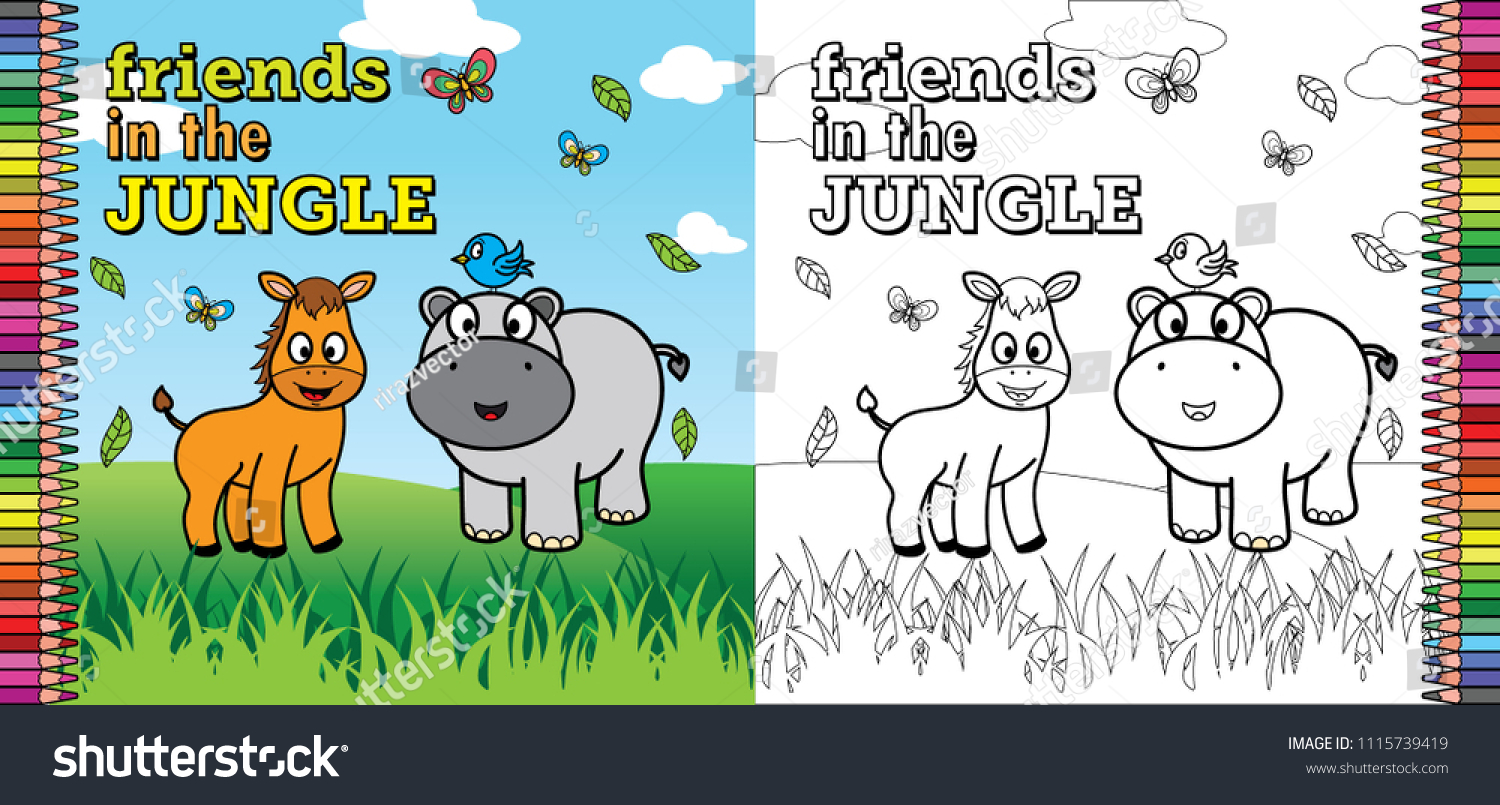 Coloring Book Pages Children Friends Jungle Stock Vector (2018 ...