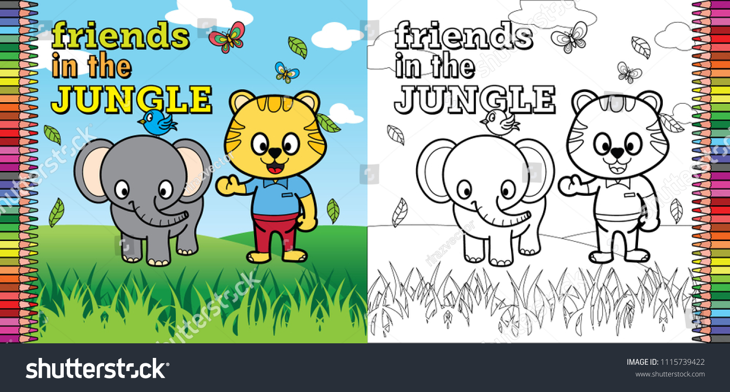 Coloring Book Pages Children Friends Jungle Stock Vector 1115739422 ...