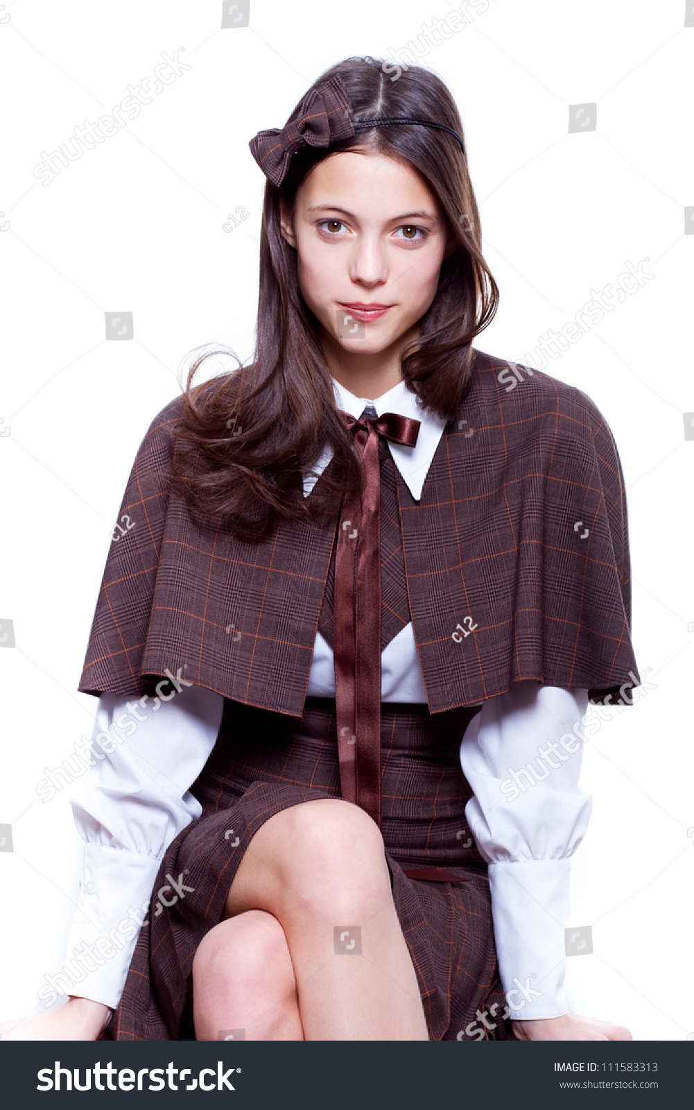School Girl Wearing Old Style Formal Clothes Isolated Stock Photo 111583313 Shutterstock