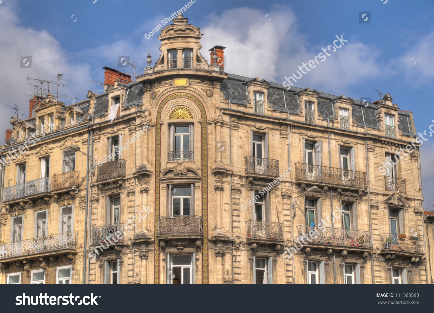 French Architecture Retro Building Montpellier France