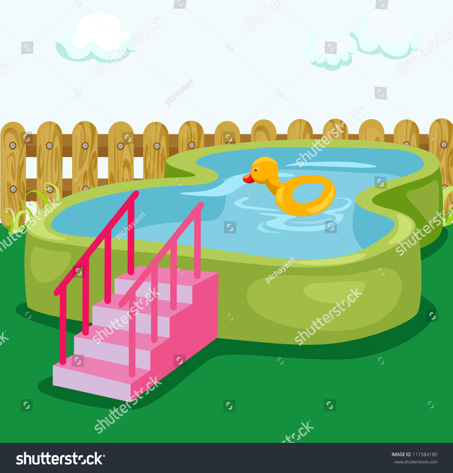 Illustration kid swimming pool garden stock