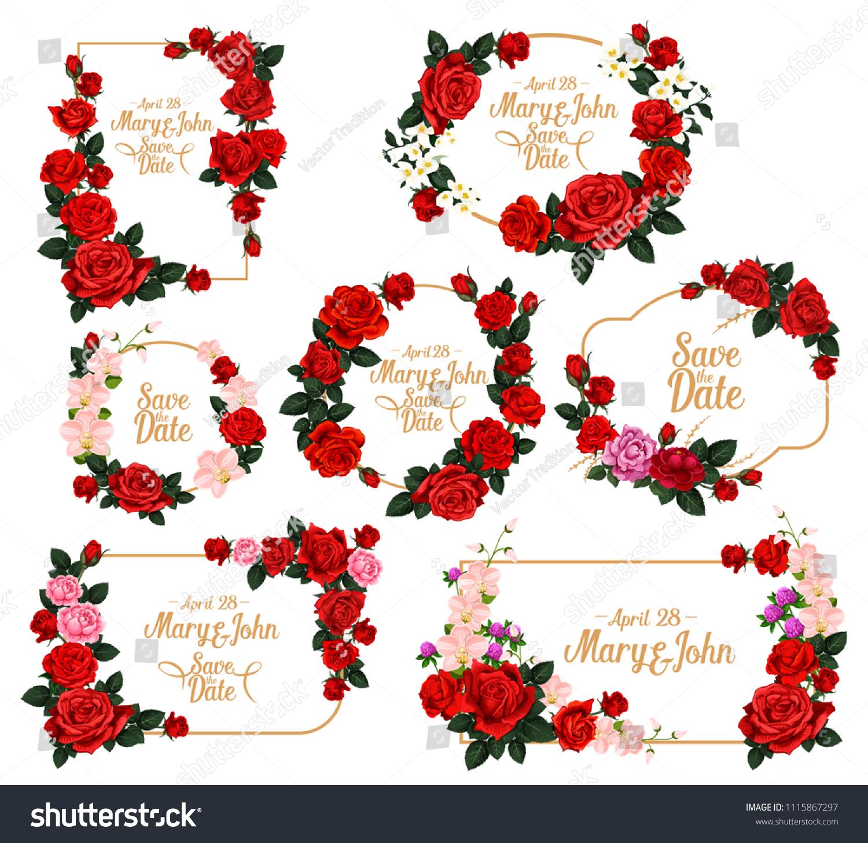 Wedding Invitation Flower Frame Save Date Stock Vector (Royalty Free ...