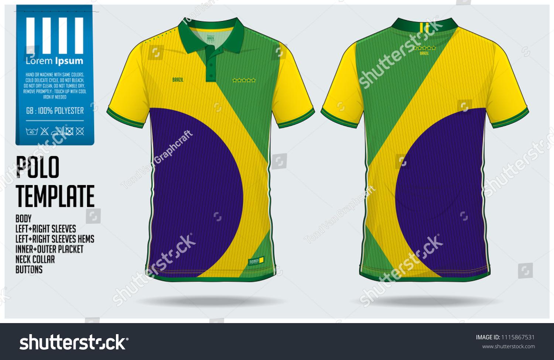 Brazil Team Polo Tshirt Sport Template Stock Vector Royalty Free