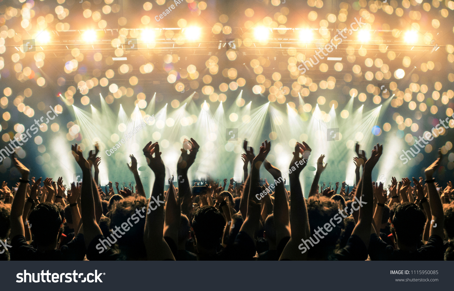 Shot inside a concert hall with crowd clapping to the stage during a performance #1115950085