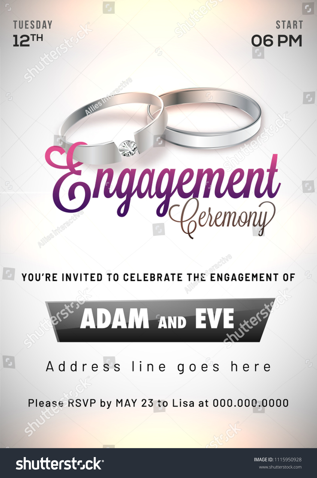 Engagement Invitation Card Design Stock Vector (Royalty Free) 1115950928