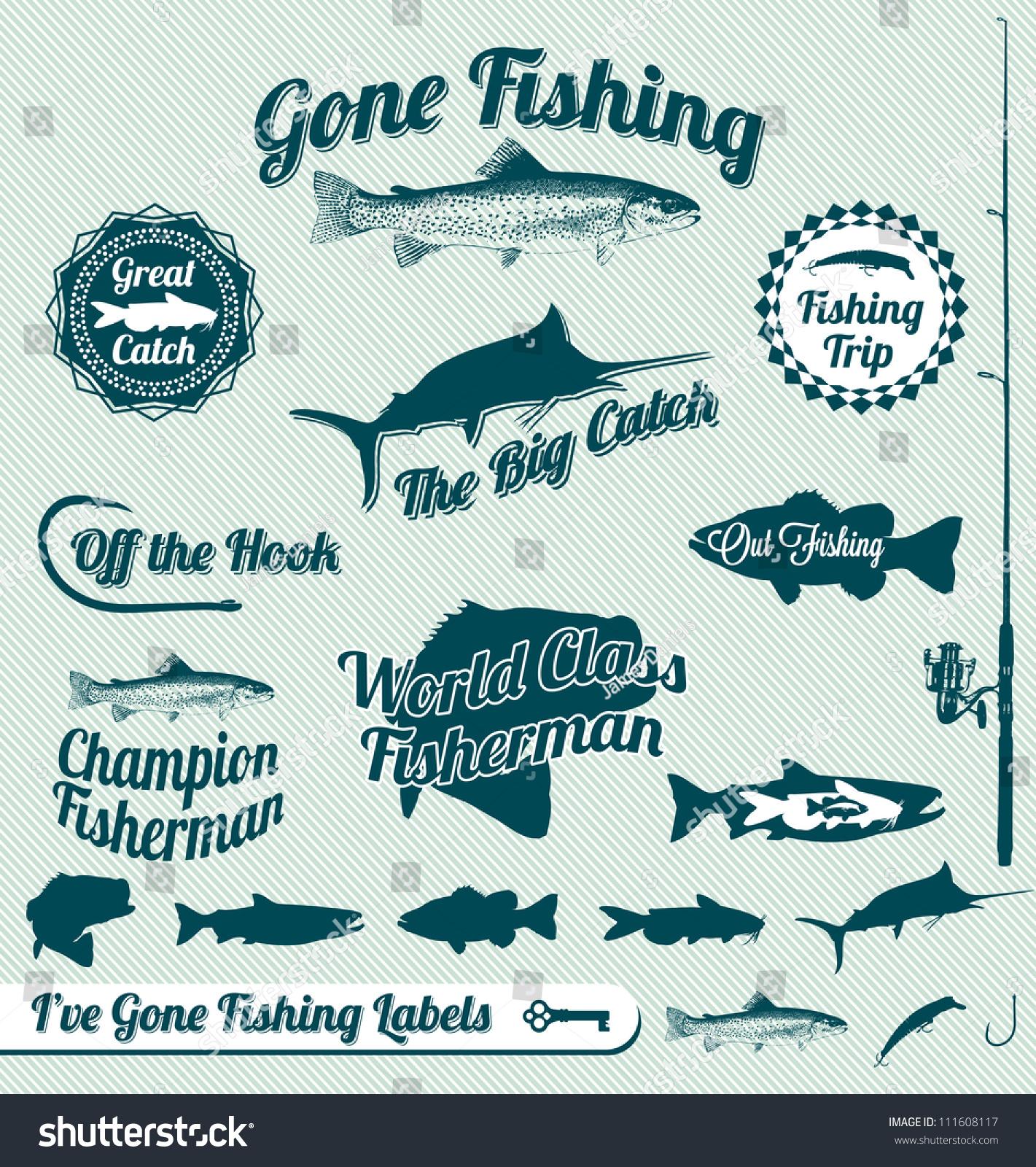 Vector set vintage fishing labels stamps stock vector for Fish symboled stamp