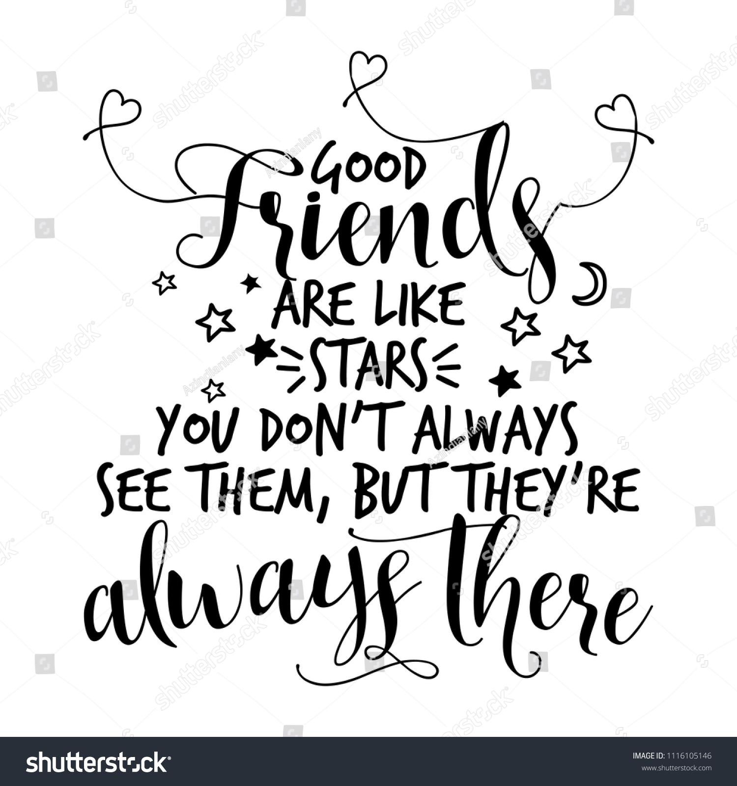 Good Friends Like Stars You Dont Stock Vector Royalty Free